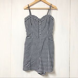 Abercrombie & Fitch Navy and White Gingham Romper